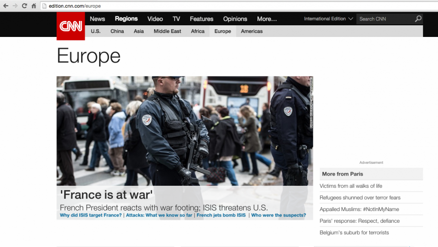 CNN homepage On Friday, November 13th, terrorists attacked Paris, France leaving 129 people dead. The news rang across the world and caused quite the stir internationally. News outlets exploded with news of the attacks as they occurred, updating millions to the tragedy.  Though the attacks were widely covered, the content of the coverage differed from source to source. As developments slowed, the coverage quickly shifted into speculation.  Instead of providing updates about the newest findings, speculation takes small details and extorts them until they are no longer factual. This is a common phenomenon, once updates aren't occurring as fast, news stations try to retain viewership by speculating, which appeals to people's need for answers in wake of tragedy.  Initially, French news focused on spreading the information necessary to keep Parisians safe, and statements from law enforcement and President François Hollande concerning the attacks. The group ISIS, the Islamic State of Iraq and Syria, a terror group that's been wreaking havoc on the Middle East in the past few years, was accused of committing the crimes.  The BBC provided the facts and statements from the French government, but also focused on the possibility of a second attack in London. As a British station this focus is understandable, though speculative. In the US, news outlets Fox News and CNN focused initially on the facts, but quickly dissolved to speculation about ISIS and the implications the attack have for future U.S. .foreign policy. In the case of the Paris attacks and similar tragedies, people look to the news for authentic news, not wild speculation. Shouldn't news outlets stay true to news? Especially in wake of tragedy, is speculative coverage ethical? In addition, although the news has a certain responsibility to providing actual news, what responsibility do consumers have in demanding actual news and avoiding speculative broadcasts?  UAIS class of 2015 alumnus Jasmine Paul, who attends Th