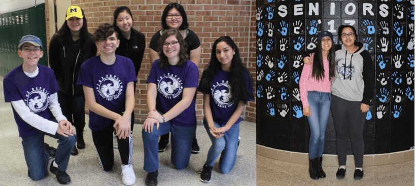 The left picture is some of the Student Voice Committee members: Collin Syler, Sam Sabha, Lisette Lemerise, Nikhita Khosa, Mina Kandelchy, Sarah Ko, and Adona Yu. The Student Voice Committee encompasses its personal weekly meetings every Friday and their Town Hall every month. The right picture is the Student Advisory Board president Shirley ElFishawy and Vice President Farah Afify. They are posed in front of the Senior Handprint Wall, one of their many initiatives.