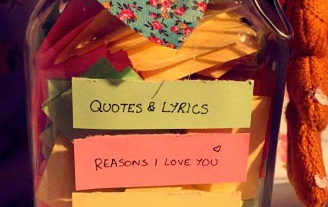 This is an example of a jar you can make for bae that includes slips of paper with quotes, lyrics, reason why I love you, moments and memories.