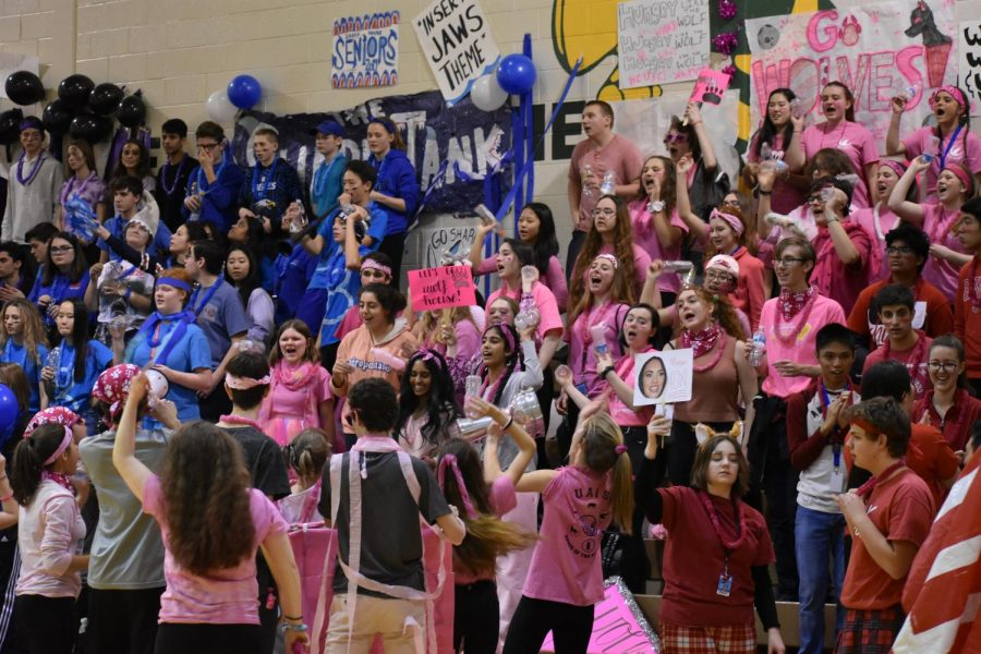 Shark and Wolf students cheer for their houses during December's Olympics.