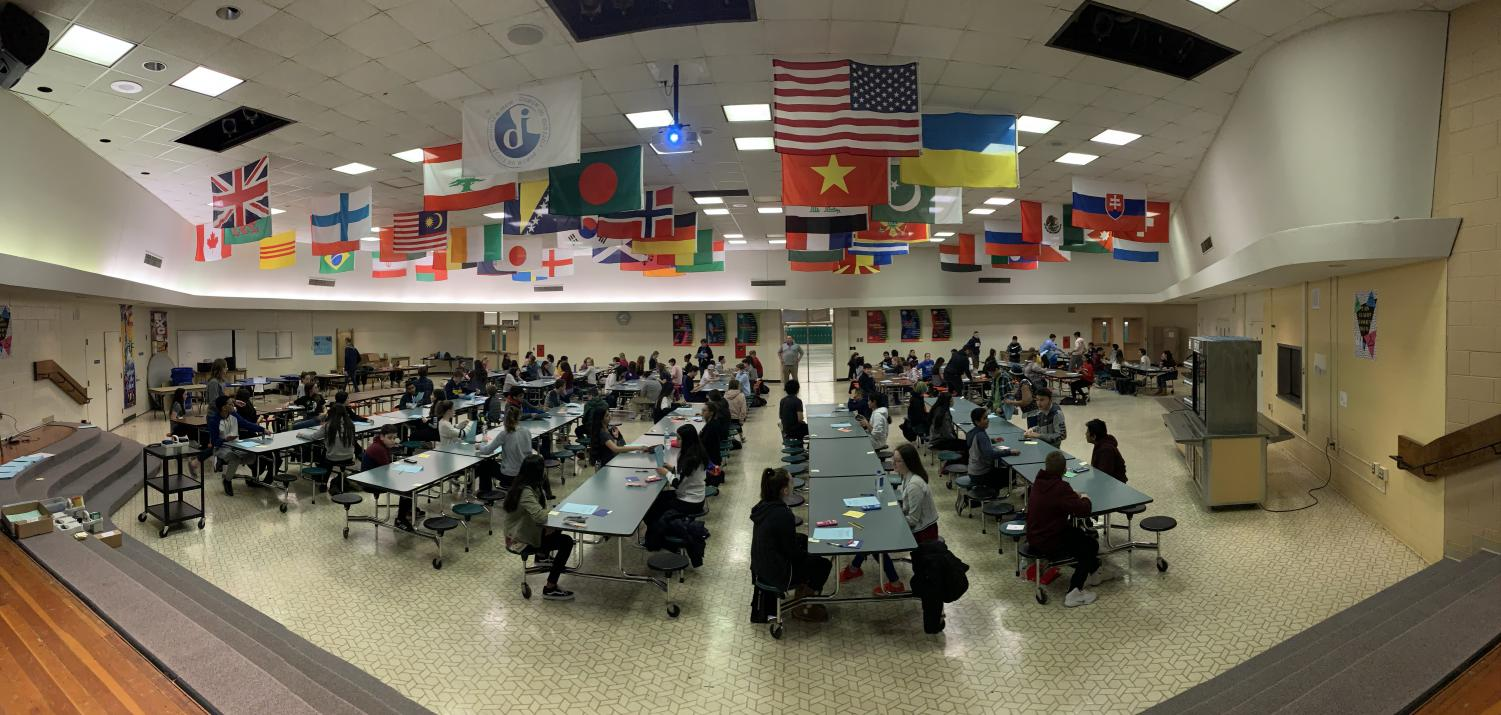 Session 2 of 3 of the entrance exam held in the school cafeteria.